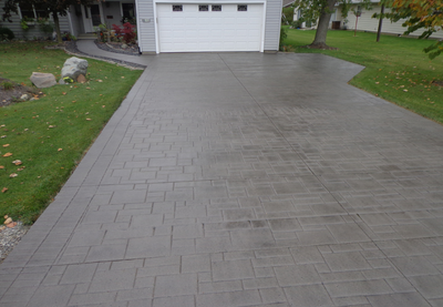 Stamped concrete driveway in Brentwood.