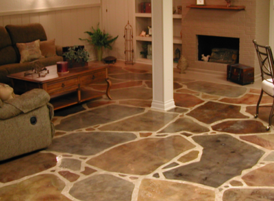 Smooth decorative concrete floor with different colors and designs.