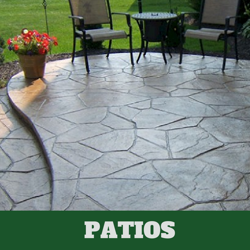Residential patio in East Lansing, Michigan with a stamped finish.
