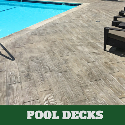 Brentwood stamped concrete pool surround with a wood grain finish.